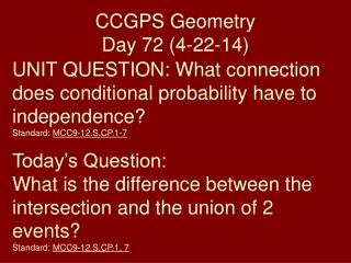 CCGPS Geometry Day 72 ( 4-22-14)