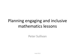 Planning engaging and inclusive mathematics lessons