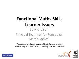 Functional Maths Skills Learner Issues