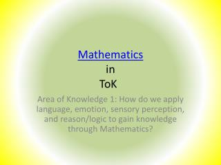 Mathematics in  ToK