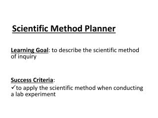 Scientific Method Planner