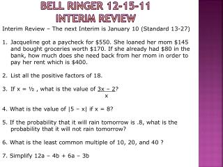 Bell Ringer  12-15-11 INTERIM Review