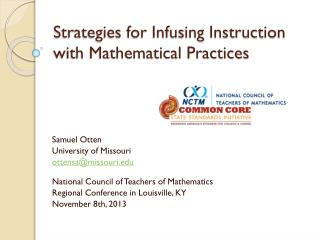 Strategies for Infusing Instruction with Mathematical Practices