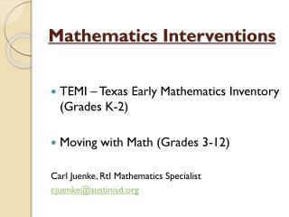 Mathematics Interventions