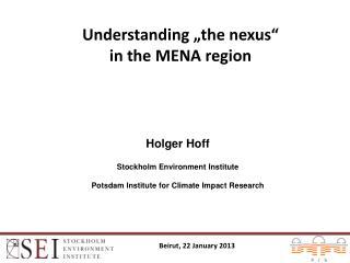 Understanding � the n exus �  in  the MENA  region