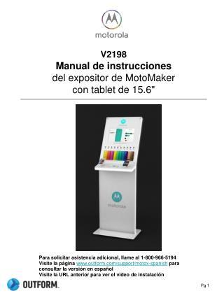 """V2198 Manual de instrucciones del expositor de  MotoMaker con  tablet  de 15.6"""""""