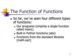 The Function of Functions