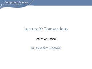 Lecture X: Transactions