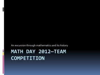 MATH DAY 2012�Team Competition