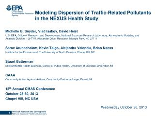 Modeling Dispersion of Traffic-Related Pollutants in the NEXUS Health Study