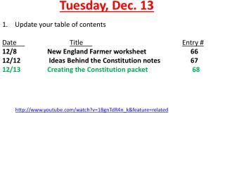 Tuesday ,  Dec.  13