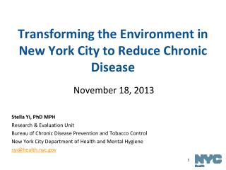 Transforming the Environment in New York City to Reduce Chronic Disease