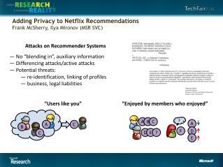 Adding Privacy to Netflix Recommendations Frank McSherry, Ilya Mironov (MSR SVC)