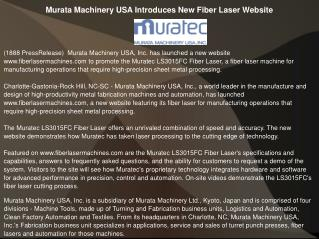Murata Machinery USA Introduces New Fiber Laser Website