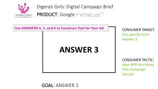 Digerati Girls: Digital Campaign Brief PRODUCT : Google Nexus 7