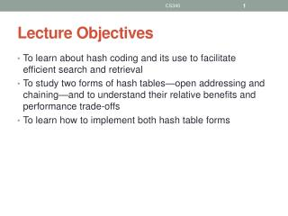Lecture Objectives
