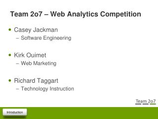 Team 2o7 – Web Analytics Competition