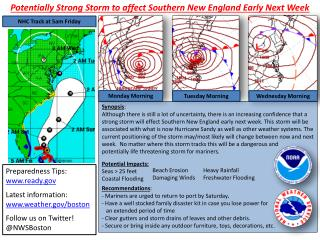 Potentially Strong Storm to affect Southern New England Early Next Week