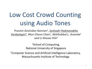 Low Cost Crowd Counting using Audio Tones