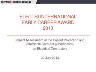 ELECTRI International Early Career Award  2013