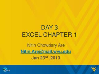 Day 3 Excel chapter 1