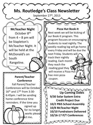 Ms. Routledge's Class Newsletter September 27 th , 2013