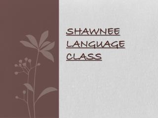 Shawnee Language Class