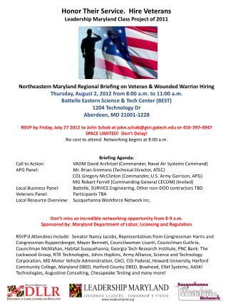 Northeastern Maryland Regional Briefing on Veteran & Wounded Warrior Hiring