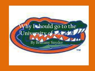 Why I should go to the University of Florida!!