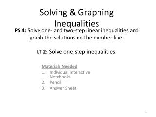 Solving & Graphing Inequalities