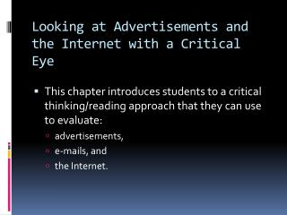 Looking at Advertisements and the Internet with a Critical Eye