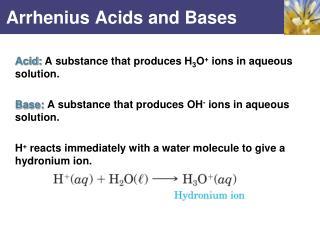 Arrhenius Acids and Bases