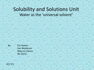Solubility and Solutions Unit