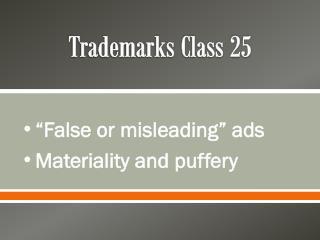 Trademarks Class 25