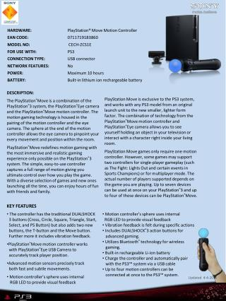 HARDWARE:		 PlayStation® Move  Motion Controller EAN CODE: 0711719183860  MODEL NO:  CECH-ZCS1E