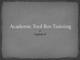 Academic Tool Box Training