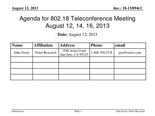 Agenda for 802.18 Teleconference Meeting August 12, 14, 16, 2013