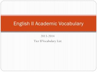 English II Academic Vocabulary