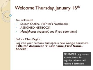 Welcome Thursday, January 16 th