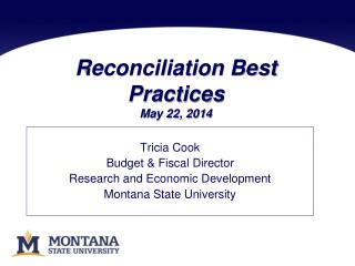 Reconciliation Best Practices May 22, 2014