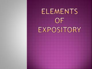 Elements  of Expository