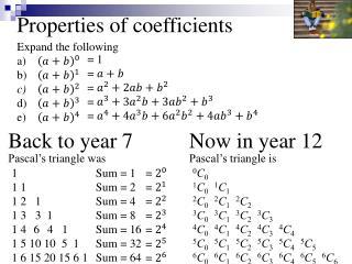 Properties of coefficients