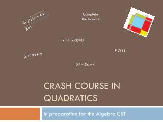 CRASH COURSE IN QUADRATICS