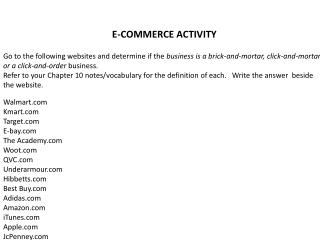 E-COMMERCE ACTIVITY