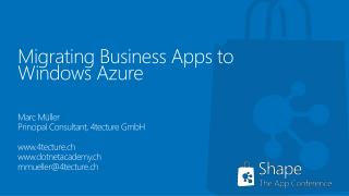 Migrating  Business Apps to Windows  Azure