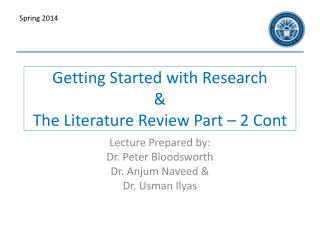 Getting Started with Research & The Literature Review Part – 2 Cont