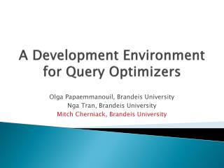 A Development Environment for Query Optimizers