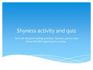 Shyness activity and quiz