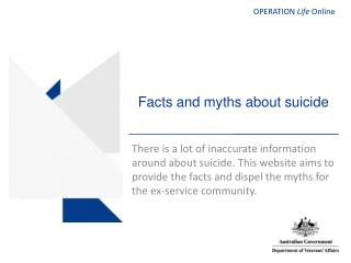 Facts and myths about suicide