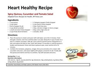 Heart Healthy Recipe